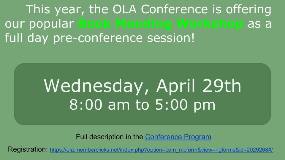 OLA Conference 2020 Book Mending Workshop
